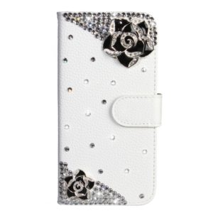 Rhinestone Pattern Horizontal Flip Leather Case with Holder & Card Slots & Wallet & Lanyard For Nokia 4.2(Black Flower)