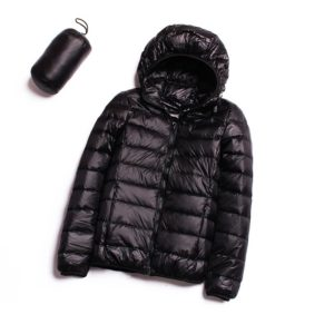 Casual Ultra Light White Duck Down Jacket Women Autumn Winter Warm Coat Hooded Parka, Size:XXL(Black)