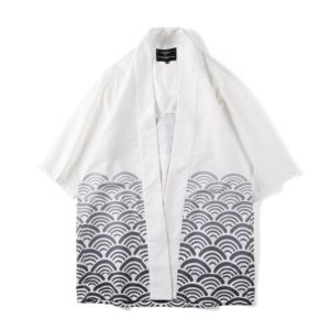 Digital Print Kimono Loose Seven-point Sleeve Shirt for Men and Women(Color:12007# Size:L)