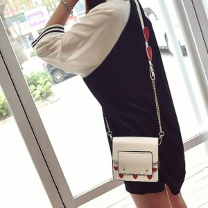 Love Heart Pattern PU Shoulder Bag Messenger Bag Ladies Handbag (White)