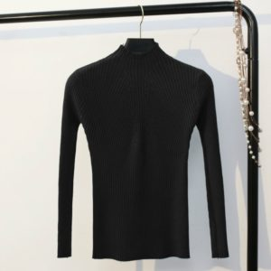 Autumn and Winter Half-high Collar Slim Solid Color Sweater, Size: One Size( Black )