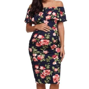 Printed Collar Pregnant Women Dress (Color:Navy Blue Size:L)