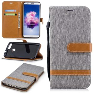 Color Matching Denim Texture Leather Case for Huawei Y9 2018 & Enjoy 8 Plus , with Holder & Card Slots & Wallet & Lanyard(Gray)