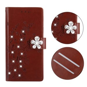 Plum Blossom Pattern Diamond Encrusted Leather Case for Nokia 2.1 ,with Holder & Card Slots(Plum brown)