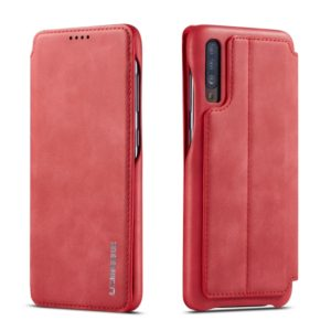For Galaxy A50 Hon Ancient Series Leather Case with Card Slots & Holder & Wallet(Red) (LC.IMEEKE)