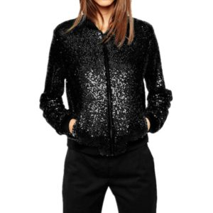 Women Wild Casual Sequin Jacket Short Coat (Color:Black Size:XXL)