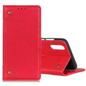 For Galaxy A70s Copper Buckle Retro Crazy Horse Texture Horizontal Flip Leather Case with Holder & Card Slots & Wallet(Red)