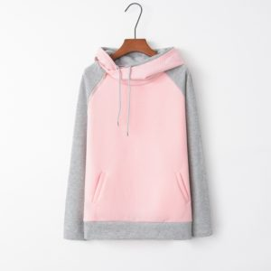 Stitched Hooded Zipper Long Sleeve Sweatshirt (Color:Pink Size:XL)