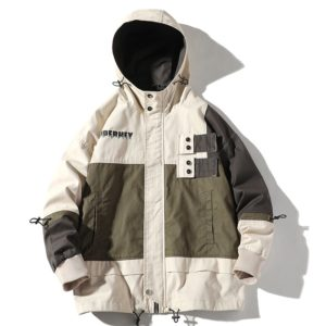 Hooded Casual Loose Coat Jacket for Men (Color:Beige Size:XL)