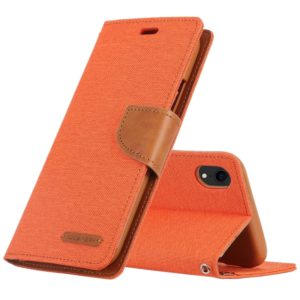 GOOSPERY CANVAS DIARY Denim Texture Horizontal Flip Leather Case for iPhone XR, with Holder & Card Slots & Wallet (Orange) (GOOSPERY)