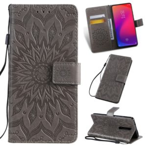 Pressed Printing Sunflower Pattern Horizontal Flip PU Leather Case for Xiaomi Mi 9T & Mi 9T Pro & Redmi K20 & K20 Pro, with Holder & Card Slots & Wallet & Lanyard (Grey)
