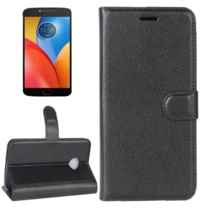 For Motorola Moto E4 Plus (EU Version) Litchi Texture Horizontal Flip Leather Case with Holder & Card Slots & Wallet(Black)