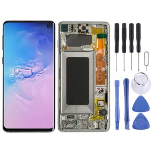LCD Screen and Digitizer Full Assembly with Frame for Galaxy S10 (White)