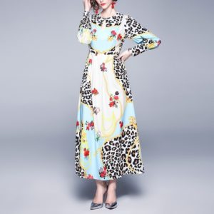 Fashion Leopard Print Round Neck Long-sleeved Big Swing Dress (Color:Light blue Size:L)