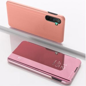 For OPPO Realme XT / K5 / Realme X2 Plated Mirror Horizontal Flip Leather with Stand Mobile Phone Holster(Rose Gold)