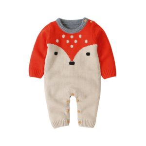 Boys And Girls Cartoon Fox Knit Romper (Color:Mika Size:80cm)