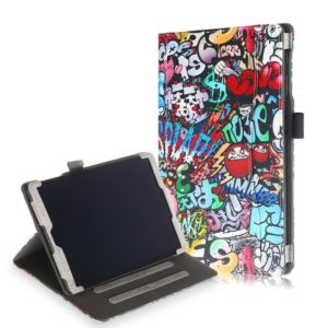 Cowhide Texture Graffiti Pattern Colored Drawing Horizontal Flip Leather Case for Galaxy Tab A 10.1 (2019) T510 / T515, with Holder