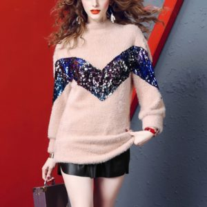 Fashion Lattice Loose Slimming Mohair Wool Sweater (Color:Pink Size:As Show)
