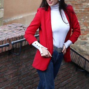 Women Solid Color Buckleless Slim Casual Suit (Color:Red Size:XL)