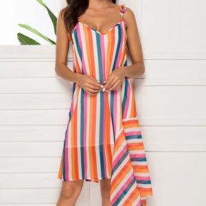 V-neck Sling Sleeveless Irregular Color Strip Dress (Color:As Show Size:S)