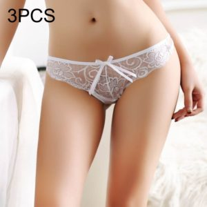 3 PCS FunAdd Women Sexy Low-waisted Transparent Cross Cord Lace Enticing Thongs Panties, Free Size(White) (FunAdd)