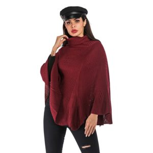 Women Pullover Bat Sleeve Sweater (Color:Wine Red Size:L)