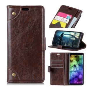 Copper Buckle Nappa Texture Horizontal Flip Leather Case for Huawei Y9 (2019), with Holder & Card Slots & Wallet (Coffee)