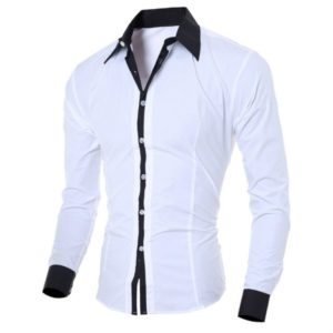 Casual Business Men Dress Long Sleeve Cotton Stylish Social Shirts, Size:M(White)