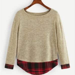 Plaid Stitching Sweater (Color:Apricot Size:S)