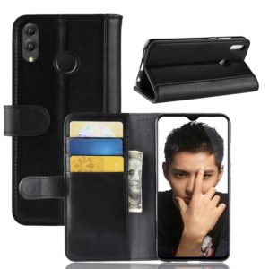 Horizontal Flip Genuine Leather Case for Huawei Honor 8X, with Card Slots & Holder & Wallet(Black)