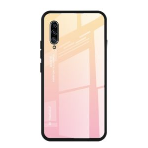 For Galaxy A90 5G Gradient Color Glass Case(Yellow)