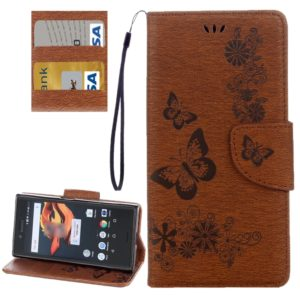 For Sony Xperia X Compact Butterflies Embossing Horizontal Flip Leather Case with Holder & Card Slots & Wallet & Lanyard(Brown)