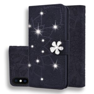 For iPhone XS Max Calf Pattern Diamond Mandala Double Folding Design Embossed Leather Case with Wallet & Holder & Card Slots(Black)