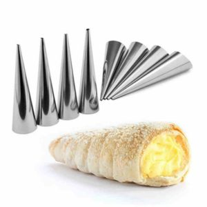 5 PCS Cone Roll Moulds Stainless Steel Spiral Nozzle Croissants Pastry Cream Horn Cake Mold(Large 12x3x3cm )