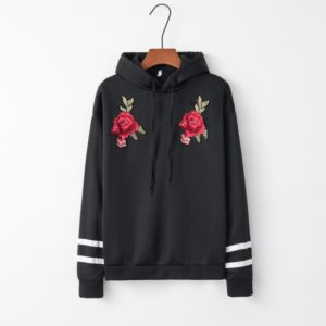 Hooded Long Sleeve Casual Loose Rose Embroidered Sweatshirt (Color:Black Size:S)