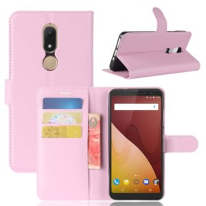 Litchi Texture Horizontal Flip Leather Case for Wiko VIEW PRIME, with Holder & Card Slots & Wallet(Pink)