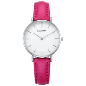 CAGARNY 6872 Living Waterproof Round Dial Quartz Movement Alloy Silver Case Fashion Watch Quartz Watches with Leather Band(Magenta) (CAGARNY)