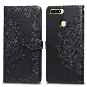 For Huawei Honor 7A Halfway Mandala Embossing Pattern Horizontal Flip Leather Case with Holder & Card Slots & Wallet & Lanyard(Black)