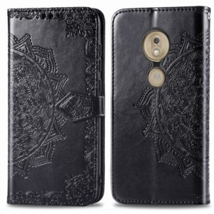For Moto G7 Play, EU Version Embossed Mandala Pattern PC + TPU Horizontal Flip Leather Case with Holder & Card Slots(Black)