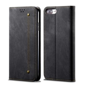 For iPhone 6 Plus / 6s Plus Denim Texture Casual Style Horizontal Flip Leather Case with Holder & Card Slots & Wallet(Black)