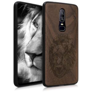 KW Ξύλινη θήκη για OnePlus 6 Hard Brown - Spirit Lion Walnut by KW (45673.14)