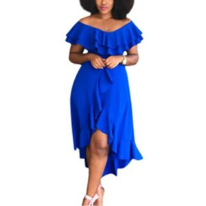 Sexy Solid Ruffled Big Swing Dress, Size:S(Blue)