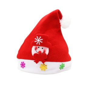 Christmas Decoration Napped Fabric Santa Hat Applique Pattern Adult Dressing Up Christmas Hat, Random Pattern Delivery