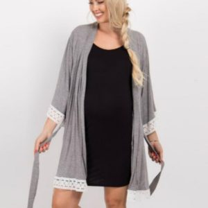 Solid Color Maternity Dress Lace Stitching Three-point Sleeves with Cardigan Breastfeeding Robes Pajamas, Size:XXXL(Dark Gray)