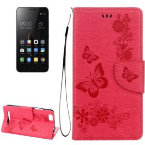 For Lenovo VIBE C A2020 Butterflies Embossing Horizontal Flip Leather Case with Holder & Card Slots & Wallet & Lanyard(Red)
