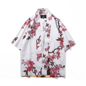 Digital Print Kimono Loose Seven-point Sleeve Shirt for Men and Women(Color:12006# Size:L)