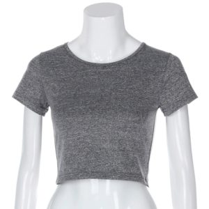 Round Neck Exposed Navel Shirt Body Short Sleeve T-shirt, Size: S(Gray)