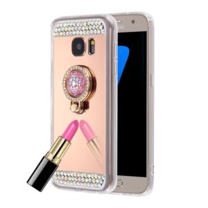 For Galaxy S7 / G930 Diamond Encrusted Electroplating Mirror Protective Cover Case with Hidden Ring Holder (Rose Gold)