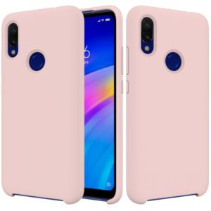 Solid Color Liquid Silicone Shockproof Full Coverage Case for Xiaomi Redmi 7(Pink)