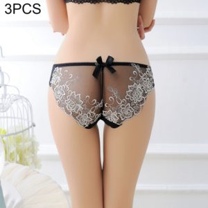 3 PCS FunAdd Women Embroidered Flowers Beauty Buttocks Sexy Underwear Transparent Low-waisted Enticing Panties, Free Size (Flesh Color) (FunAdd)